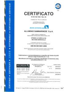certificato tuv alluminio sammarinese